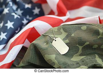 militar, tecido, bandeira, unidas, tag, prateado, cão, camuflagem, contas, estados, uniforme