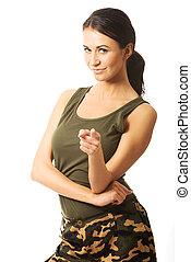 militar, tu, mulher aponta, roupas