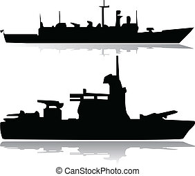 militar, vector, barcos