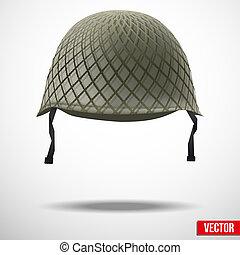 militar, vector, clásico, casco