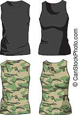 militar, vector, negro, camisas, template.