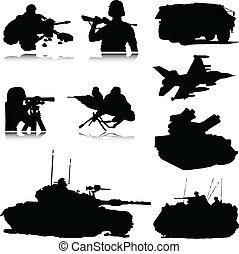 militar, vector, siluetas