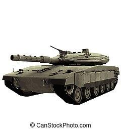 militar, vector, tanque, ilustración