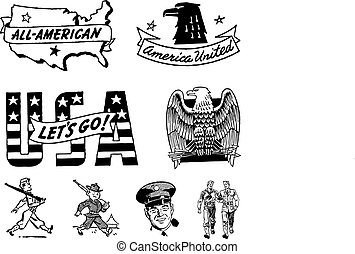 militar, vendimia, vector, estados unidos de américa, gráficos