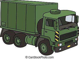 militar, verde, caminhão