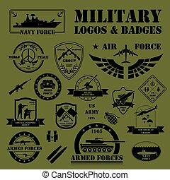 militar, y, blindado, vehículos, logotipos