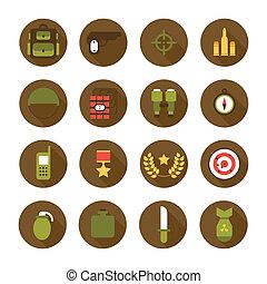 militar, y, guerra, iconos, set., ejército, infographic, diseño, elements., ilustración, en, plano, style.