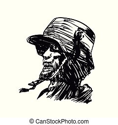 militar, zombie, gravura