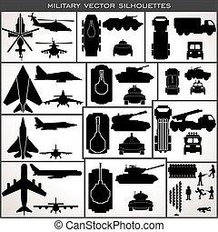 militare, astratto, vettore, collezione, silhouettes.