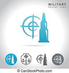 Militare Collezione Icona Militare Set Sfondo Nero Icona