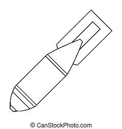 militare, bomba aerea, icona, in, contorno, stile, isolato, bianco, fondo., militare, e, esercito, simbolo, casato, vettore, illustrazione
