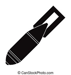 militare, bomba aerea, icona, in, nero, stile, isolato, bianco, fondo., militare, e, esercito, simbolo, casato, vettore, illustrazione