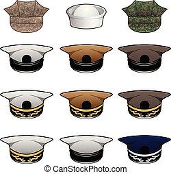 militare, cappelli, vettore, illustrazione