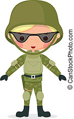 militare, cartone animato, ragazzo