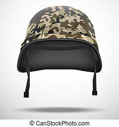militare, casco, con, camo, modello, vettore