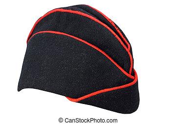 militare, nero, guarnigione, berretto