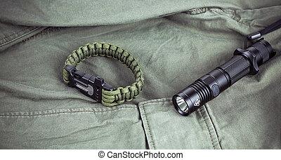 militare, paracord, torcia, braccialetto, tattico