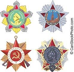 militare, set, soviet, ordini
