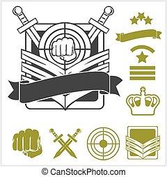 militare, speciale, unità, pezze