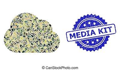 militare, textured, media, nuvola, sigillo, collage, camuffamento, kit