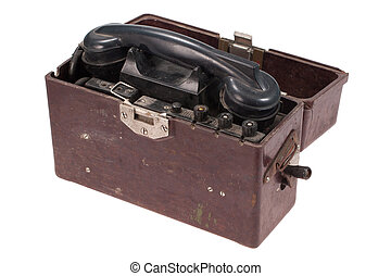 militare, vecchio, campo, telefono