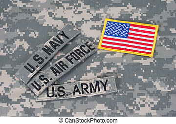 militares de los e.e.u.u, concepto, en, camuflaje, uniforme