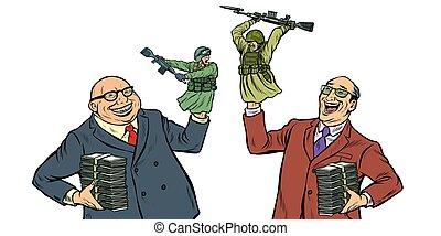 militarism, 와..., 전쟁, concept., 격리된 것, 백색 위에서, 배경