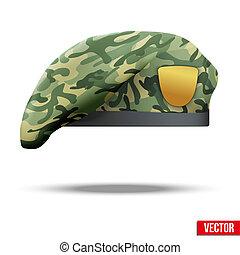 militarna siła, beret, szczególny, kamuflaż