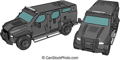 militarty, veicoli, due, illustrazione, vettore, armato, 3d