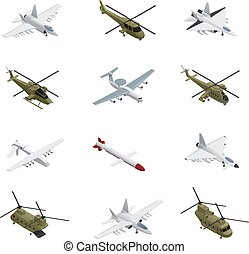 Military Air Force Isometric Icon Set