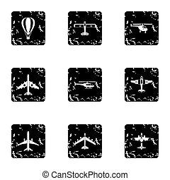 Military air transport icons set, grunge style