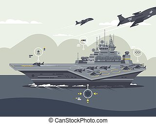 Military aircraft carrier. Huge warship with airplanes and...