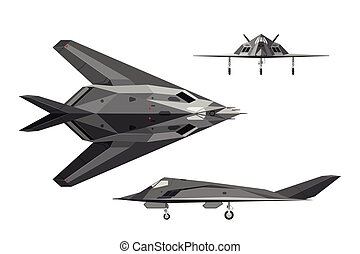 Military aircraft F-117. War plane in three views: side, top...