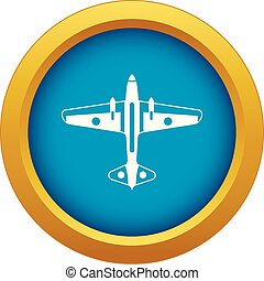 Military aircraft icon blue vector isolated