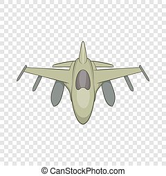 Military aircraft icon, cartoon style