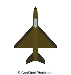 Military aircraft icon, flat style