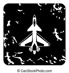 Military aircraft icon, grunge style
