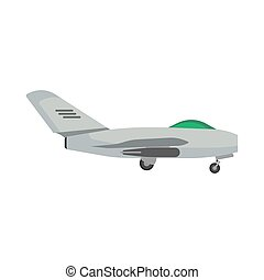 Military aircraft side view vector icon aviation fighter jet. War plane isolated bomber force. Cartoon navy warfare machine