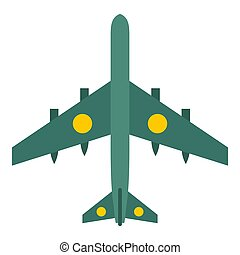 Military aircraft with missiles icon, flat style