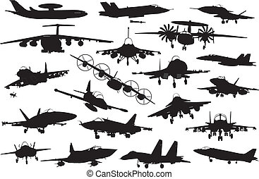 Military aircraft silhouettes collection. Vector on separate layers