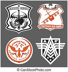 Military airforce patch set - armed forces badges and labels logo