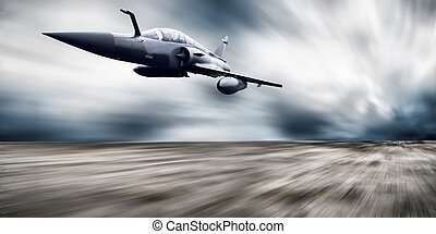 Military airplan on the speed - Military airplane on the...