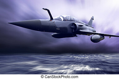 Military airplan on the speed
