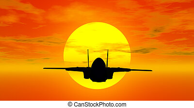 military airplane with sunset behind