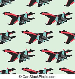Military airplane color seamless pattern