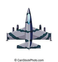 Military airplane icon, cartoon style