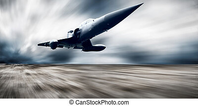 Military airplane on the speed - Military airplan on the...