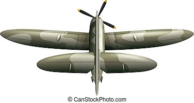 Military airplane on white background