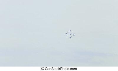 """Military Airshow - """"Diamond of Kubinka"""" - aerobatics..."""