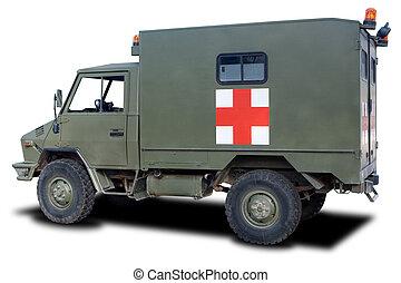 Military Ambulance - A Green Military Ambulance Isolated on...